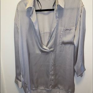 Silk pajama style striped top